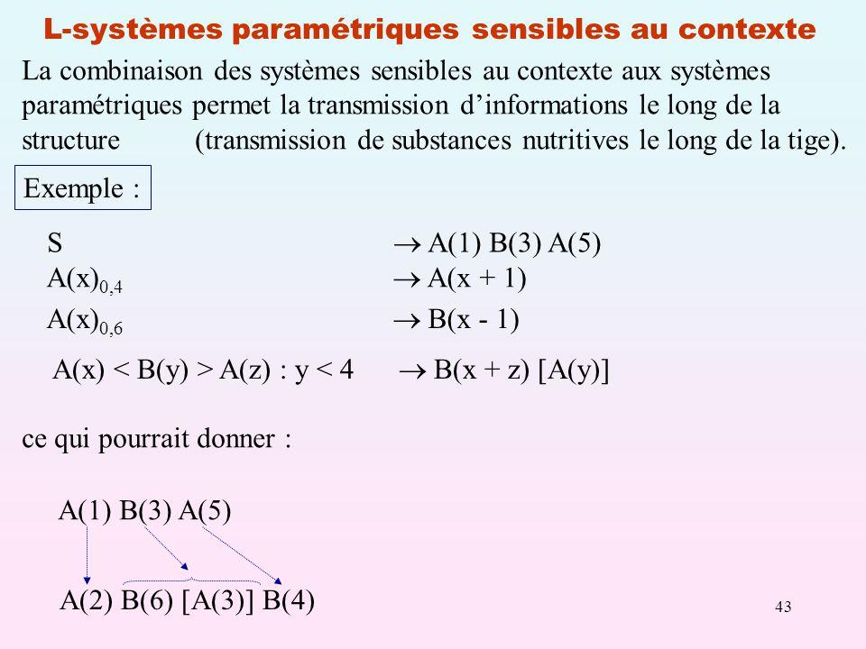 43 L-systèmes paramétriques sensibles au contexte S A(1) B(3) A(5) A(x) 0,4 A(x + 1) A(x) 0,6 B(x - 1) Exemple : A(x) A(z) : y < 4 B(x + z) [A(y)] ce qui pourrait donner : A(1) B(3) A(5) A(2) B(6) [A(3)] B(4) La combinaison des systèmes sensibles au contexte aux systèmes paramétriques permet la transmission dinformations le long de la structure(transmission de substances nutritives le long de la tige).
