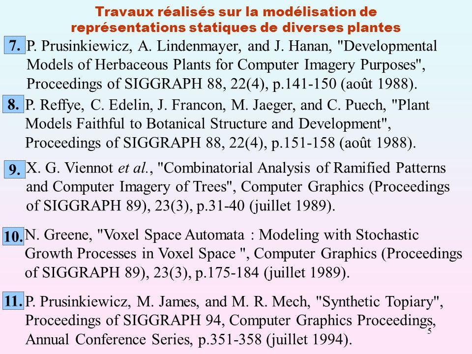 5 Travaux réalisés sur la modélisation de représentations statiques de diverses plantes P.