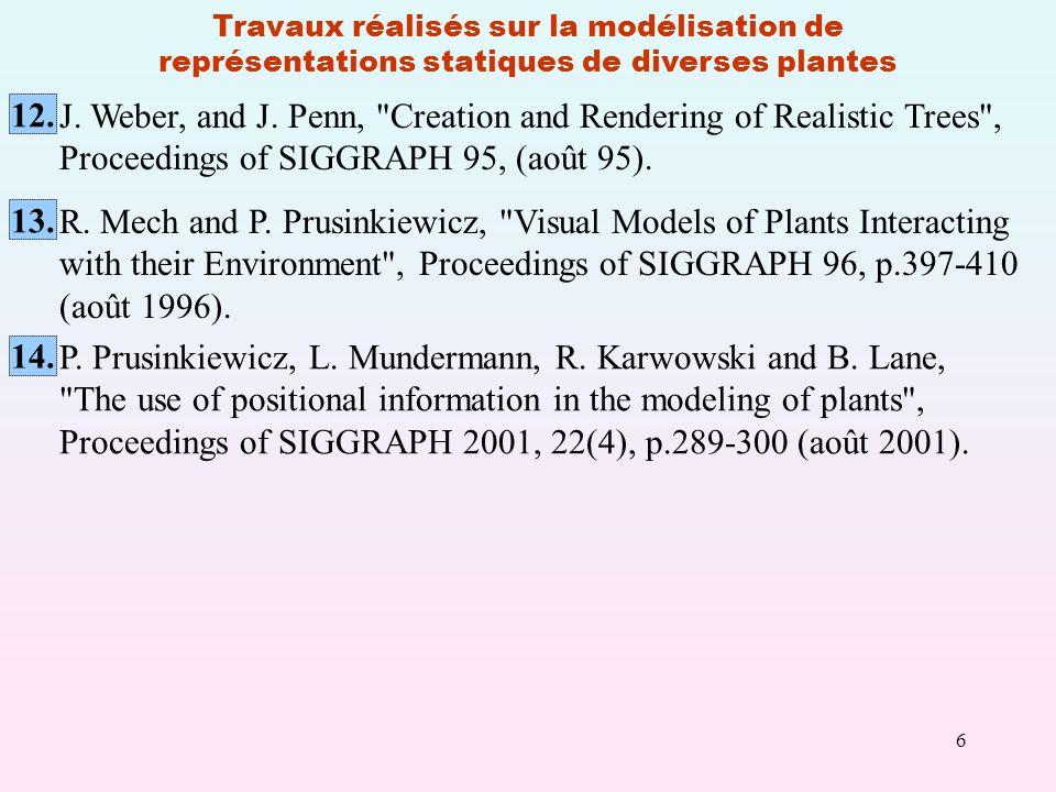 6 Travaux réalisés sur la modélisation de représentations statiques de diverses plantes P.