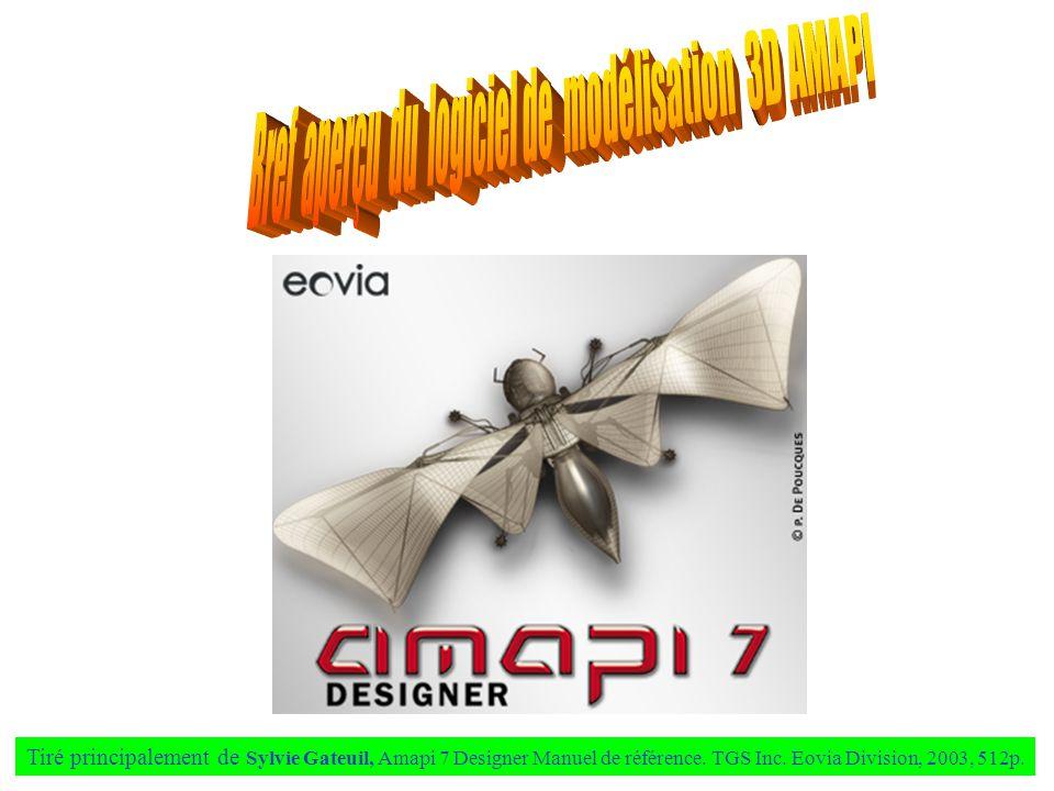 Tiré principalement de Sylvie Gateuil, Amapi 7 Designer Manuel de référence. TGS Inc. Eovia Division, 2003, 512p.