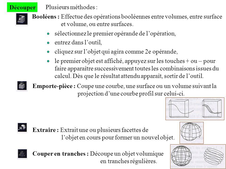 Découper Plusieurs méthodes : Booléens : Effectue des opérations booléennes entre volumes, entre surface et volume, ou entre surfaces. sélectionnez le