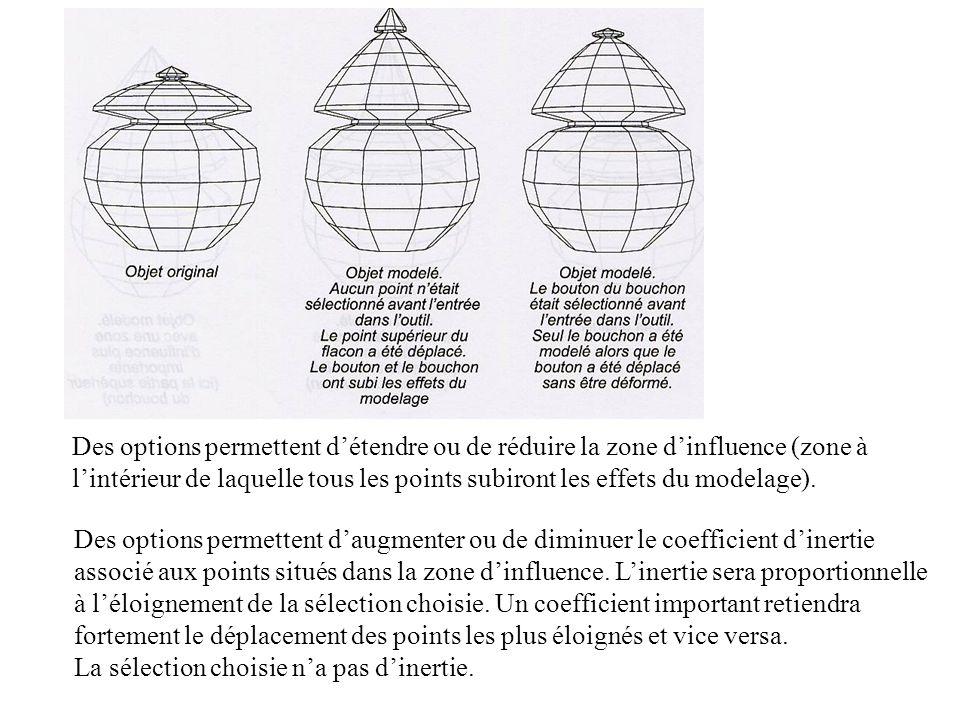 Des options permettent détendre ou de réduire la zone dinfluence (zone à lintérieur de laquelle tous les points subiront les effets du modelage). Des