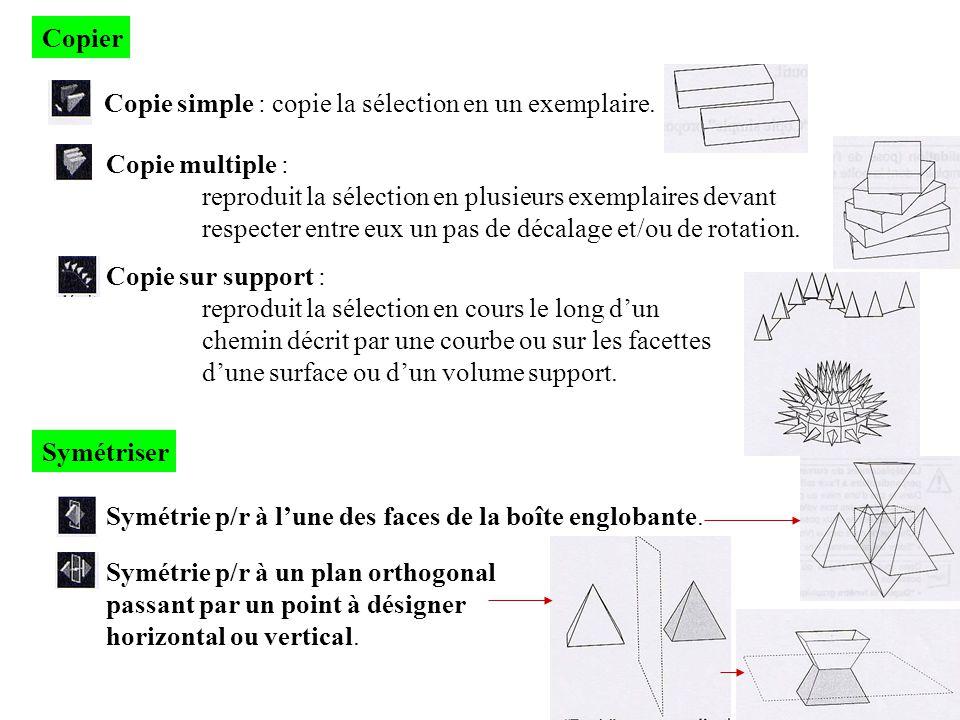 Copier Copie simple : copie la sélection en un exemplaire. Copie multiple : reproduit la sélection en plusieurs exemplaires devant respecter entre eux