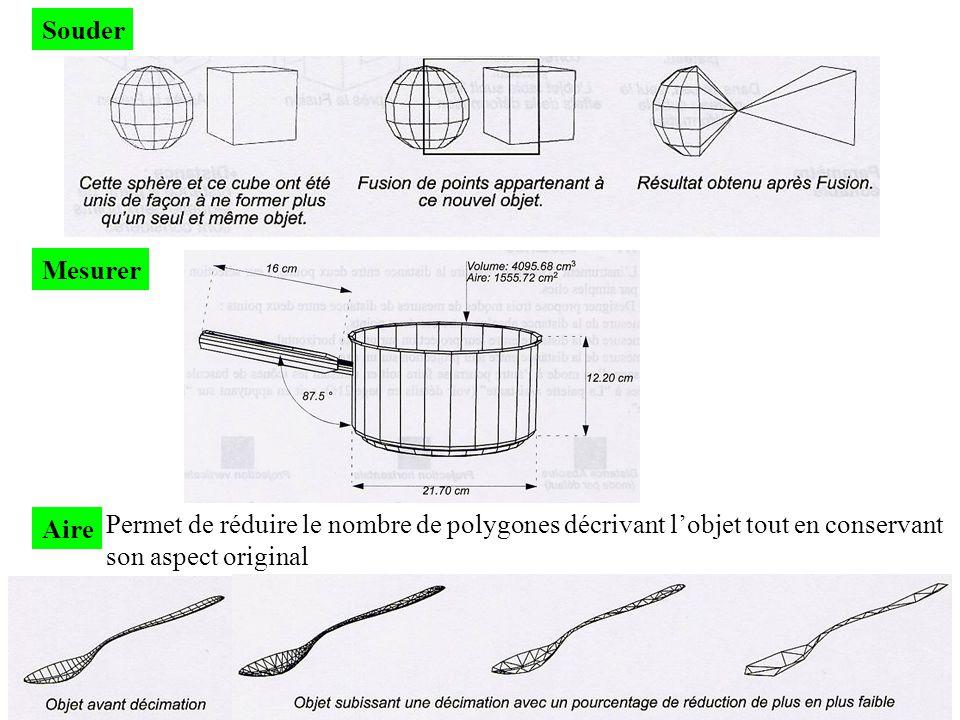 Souder Mesurer Aire Permet de réduire le nombre de polygones décrivant lobjet tout en conservant son aspect original