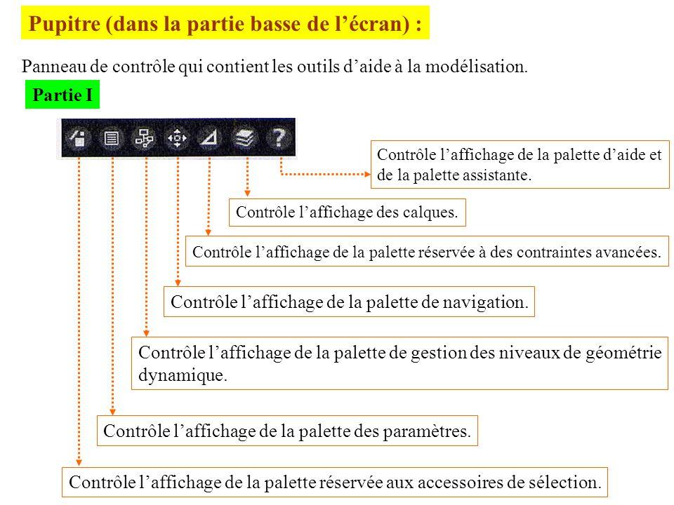 Pupitre (dans la partie basse de lécran) : Panneau de contrôle qui contient les outils daide à la modélisation. Partie I Contrôle laffichage de la pal