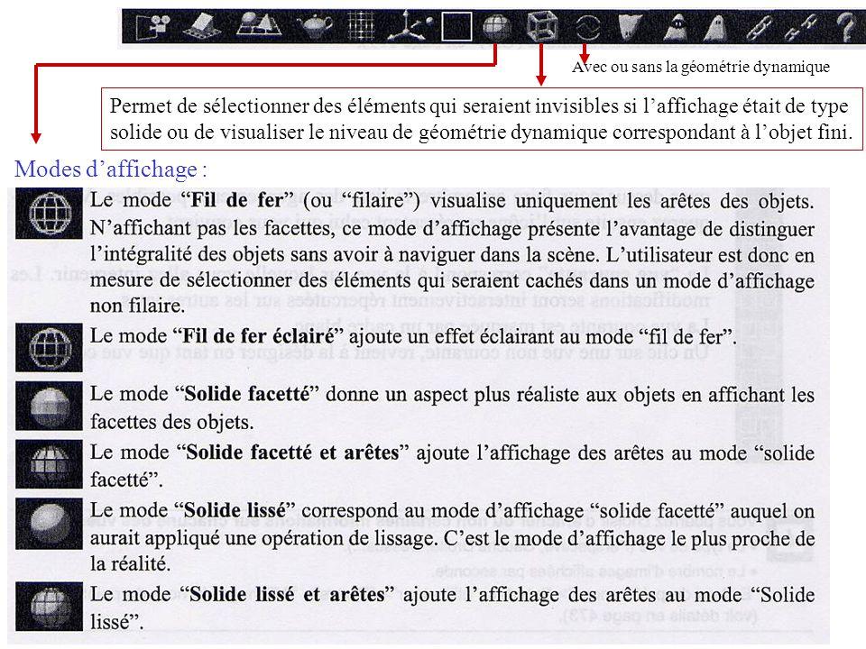 Modes daffichage : Permet de sélectionner des éléments qui seraient invisibles si laffichage était de type solide ou de visualiser le niveau de géomét
