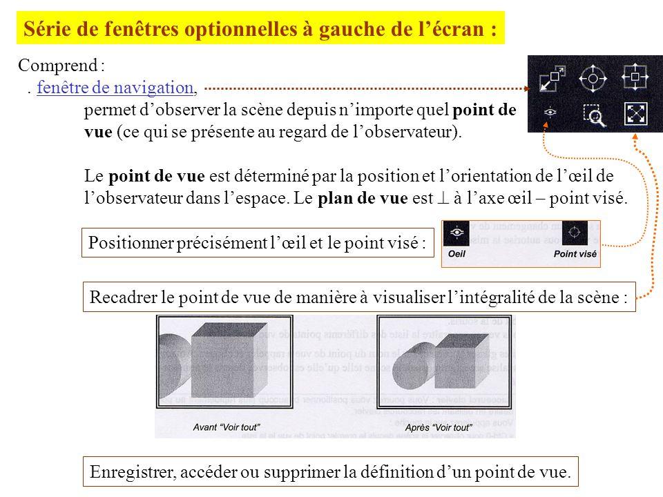Série de fenêtres optionnelles à gauche de lécran : Comprend :. fenêtre de navigation, permet dobserver la scène depuis nimporte quel point de vue (ce