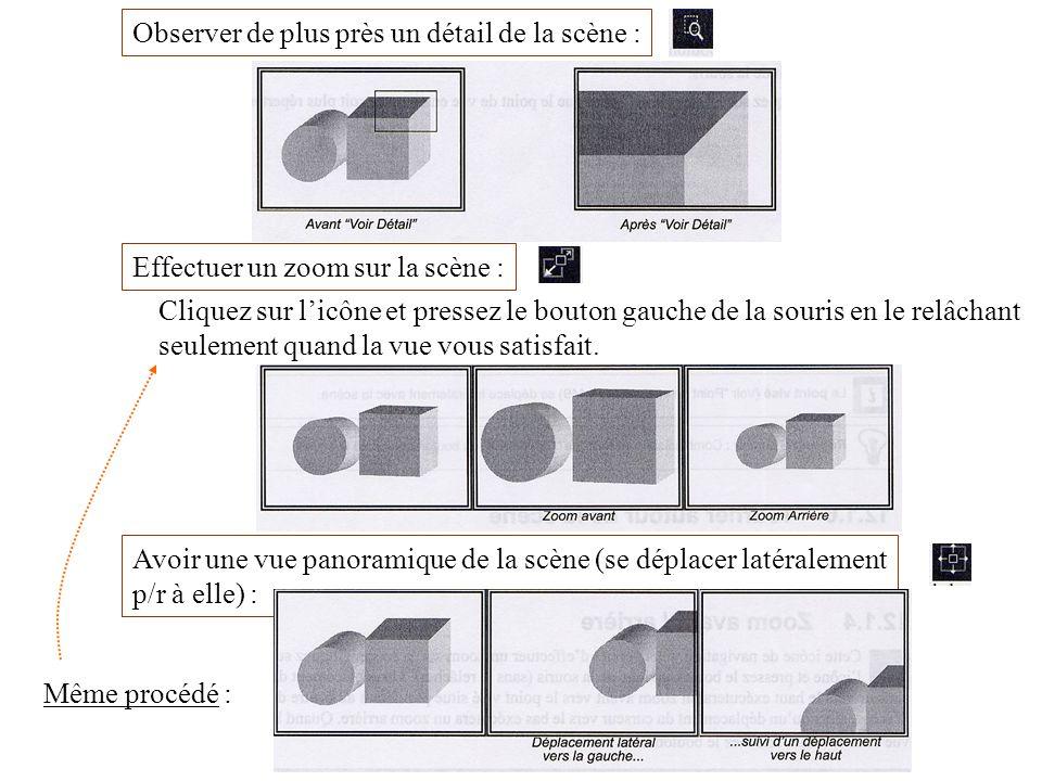 Observer de plus près un détail de la scène : Effectuer un zoom sur la scène : Cliquez sur licône et pressez le bouton gauche de la souris en le relâc