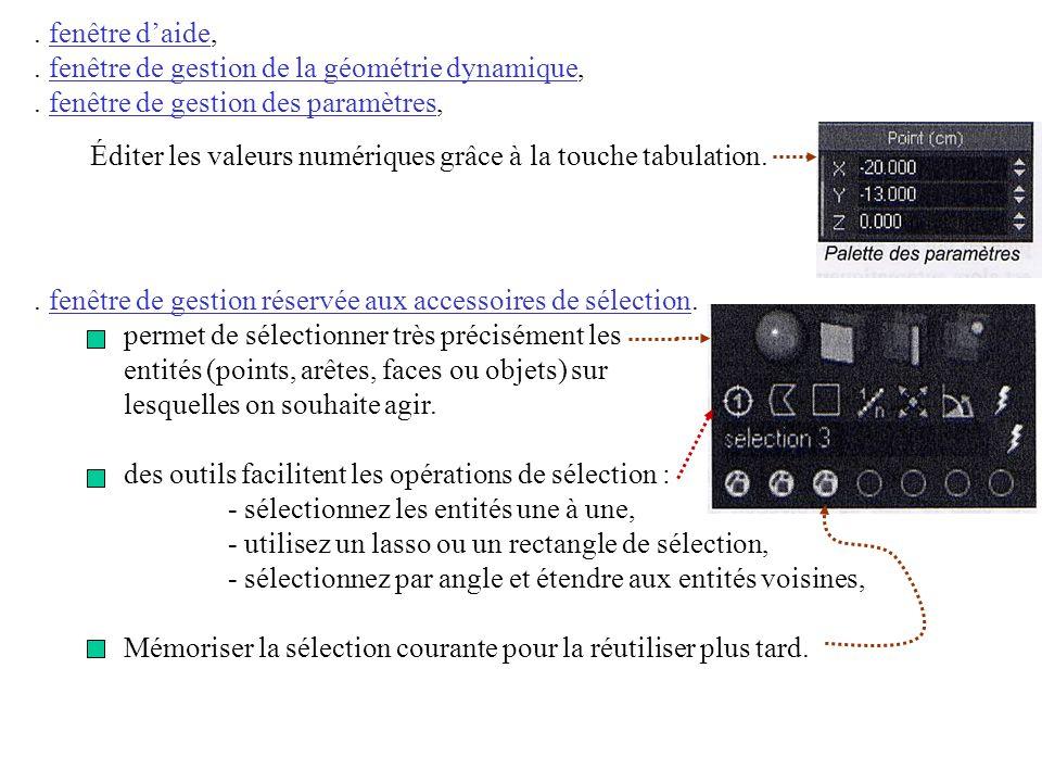 . fenêtre de gestion réservée aux accessoires de sélection. permet de sélectionner très précisément les entités (points, arêtes, faces ou objets) sur