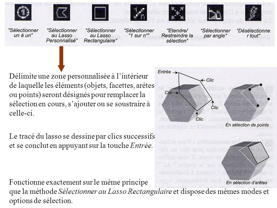 Délimite une zone personnalisée à lintérieur de laquelle les éléments (objets, facettes, arêtes ou points) seront désignés pour remplacer la sélection