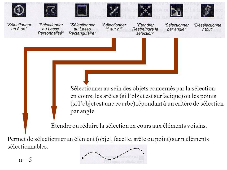 Permet de sélectionner un élément (objet, facette, arête ou point) sur n éléments sélectionnables. n = 5 Étendre ou réduire la sélection en cours aux