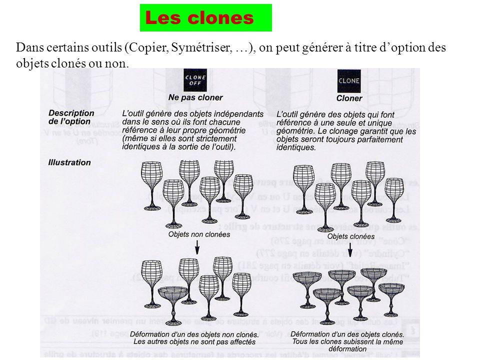 Les clones Dans certains outils (Copier, Symétriser, …), on peut générer à titre doption des objets clonés ou non.