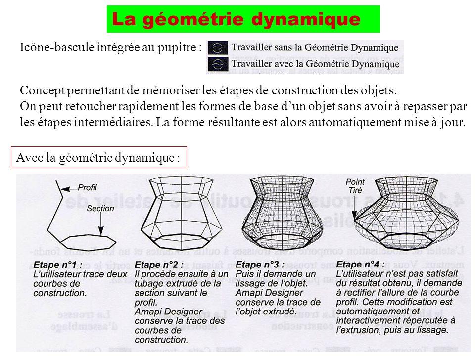 La géométrie dynamique Concept permettant de mémoriser les étapes de construction des objets. On peut retoucher rapidement les formes de base dun obje