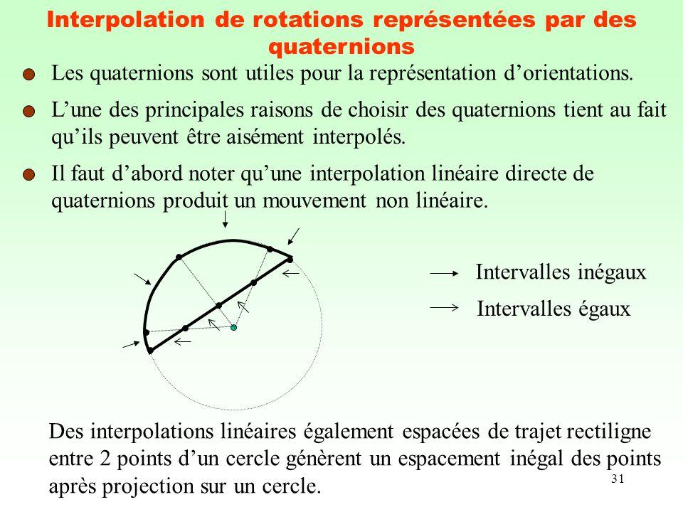 31 Interpolation de rotations représentées par des quaternions Les quaternions sont utiles pour la représentation dorientations. Lune des principales