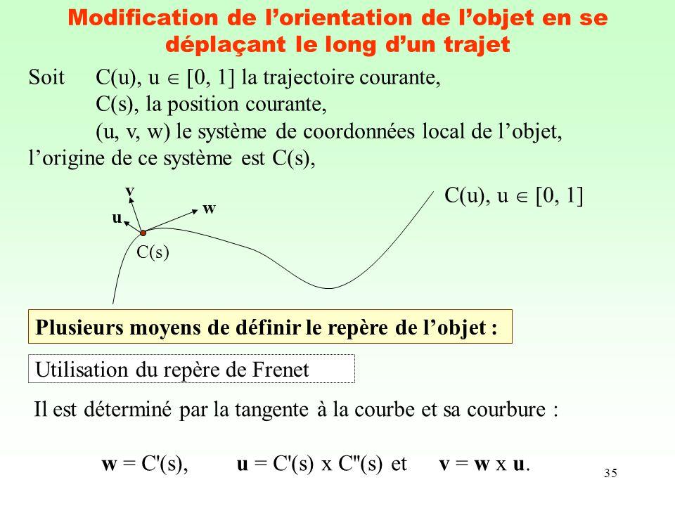 35 Modification de lorientation de lobjet en se déplaçant le long dun trajet SoitC(u), u [0, 1] la trajectoire courante, C(s), la position courante, (