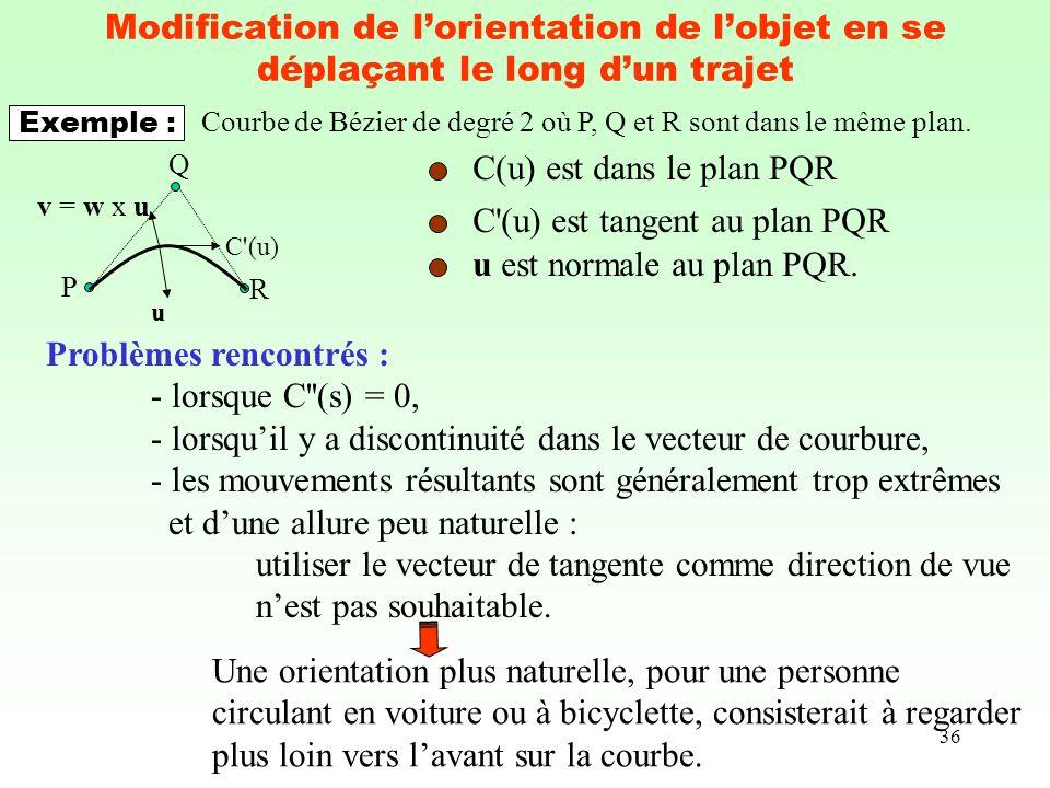 36 Modification de lorientation de lobjet en se déplaçant le long dun trajet Problèmes rencontrés : - lorsque C''(s) = 0, - lorsquil y a discontinuité