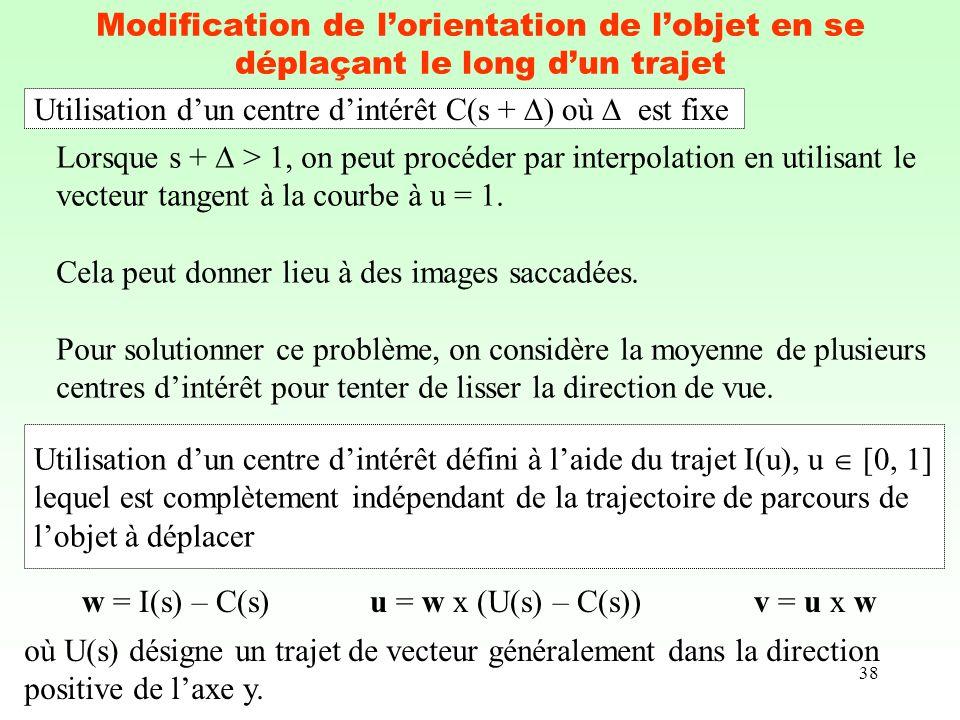 38 Modification de lorientation de lobjet en se déplaçant le long dun trajet Utilisation dun centre dintérêt C(s + ) où est fixe Lorsque s + > 1, on p