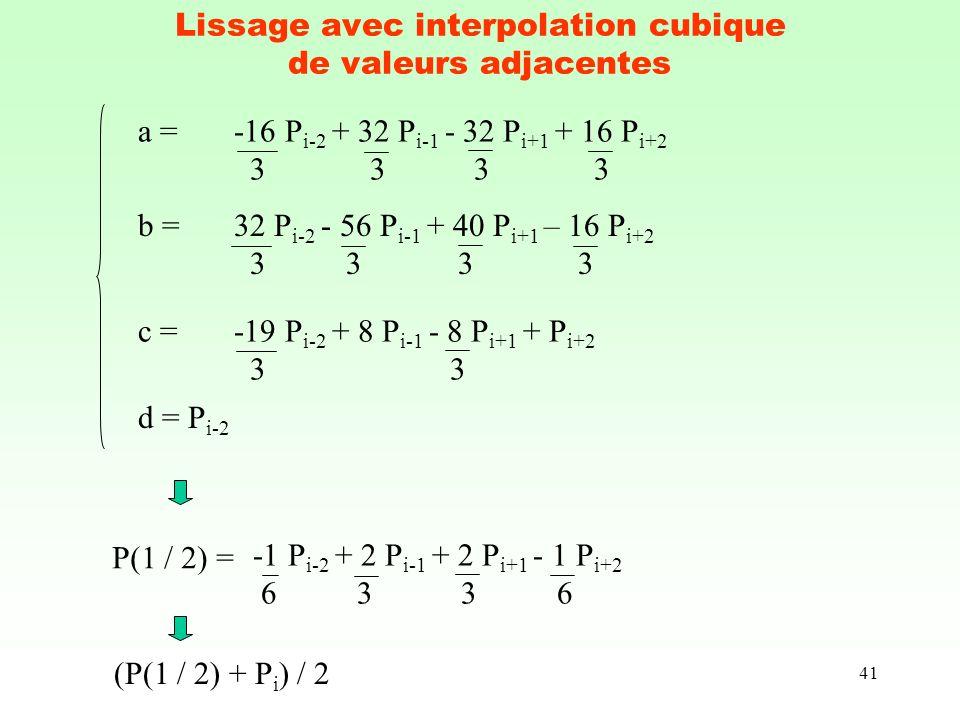 41 Lissage avec interpolation cubique de valeurs adjacentes d = P i-2 c = -19 P i-2 + 8 P i-1 - 8 P i+1 + P i+2 3 3 b = 32 P i-2 - 56 P i-1 + 40 P i+1