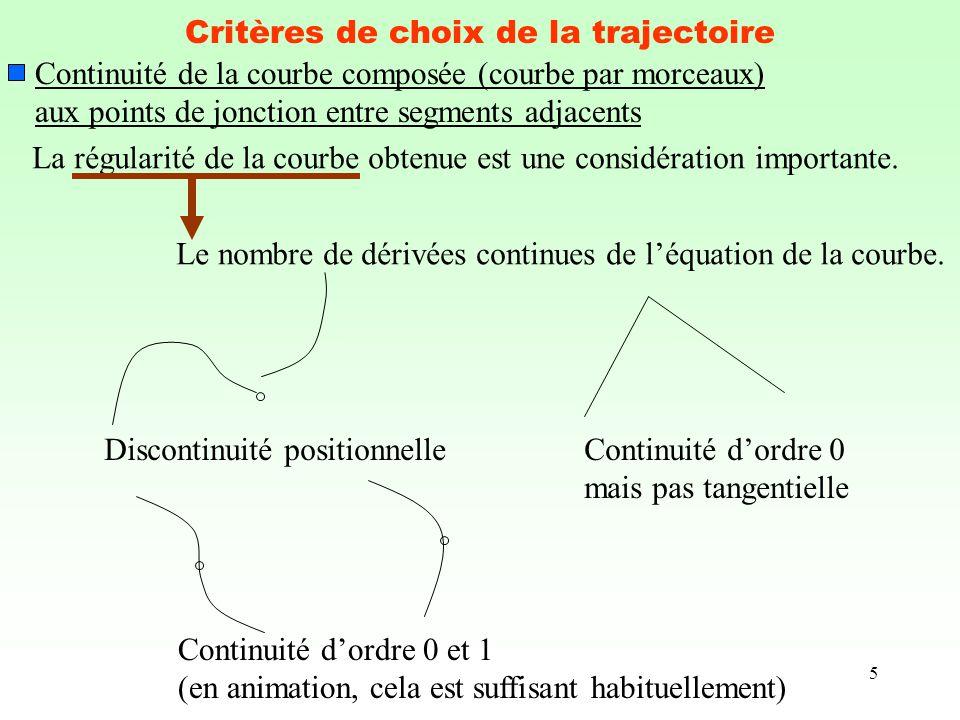 5 Critères de choix de la trajectoire Continuité de la courbe composée (courbe par morceaux) aux points de jonction entre segments adjacents La régula