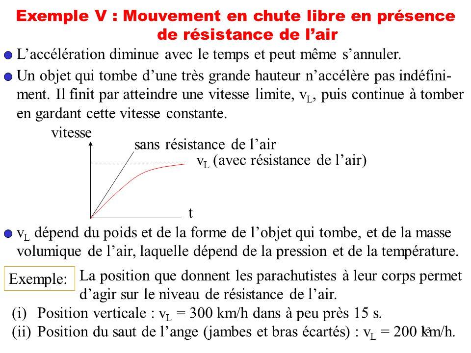 13 Exemple V : Mouvement en chute libre en présence de résistance de lair Laccélération diminue avec le temps et peut même sannuler. Un objet qui tomb