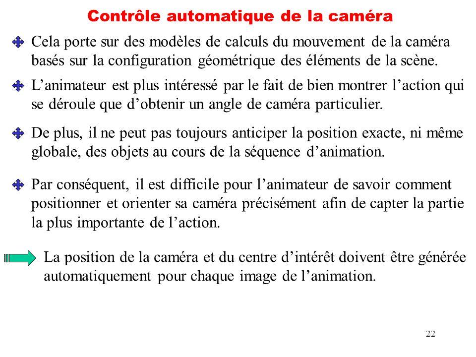 22 Contrôle automatique de la caméra Cela porte sur des modèles de calculs du mouvement de la caméra basés sur la configuration géométrique des élémen