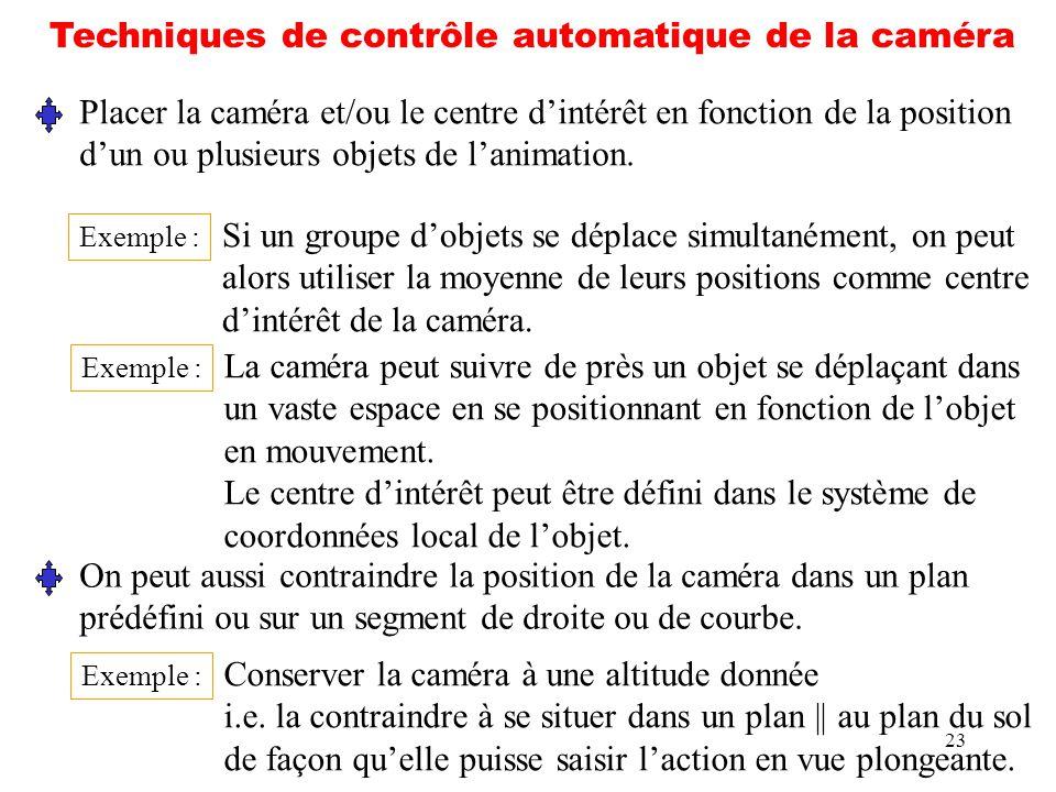 23 Techniques de contrôle automatique de la caméra Placer la caméra et/ou le centre dintérêt en fonction de la position dun ou plusieurs objets de lan