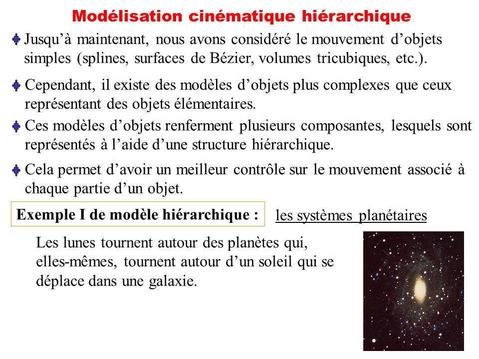 25 Modélisation cinématique hiérarchique Jusquà maintenant, nous avons considéré le mouvement dobjets simples (splines, surfaces de Bézier, volumes tr