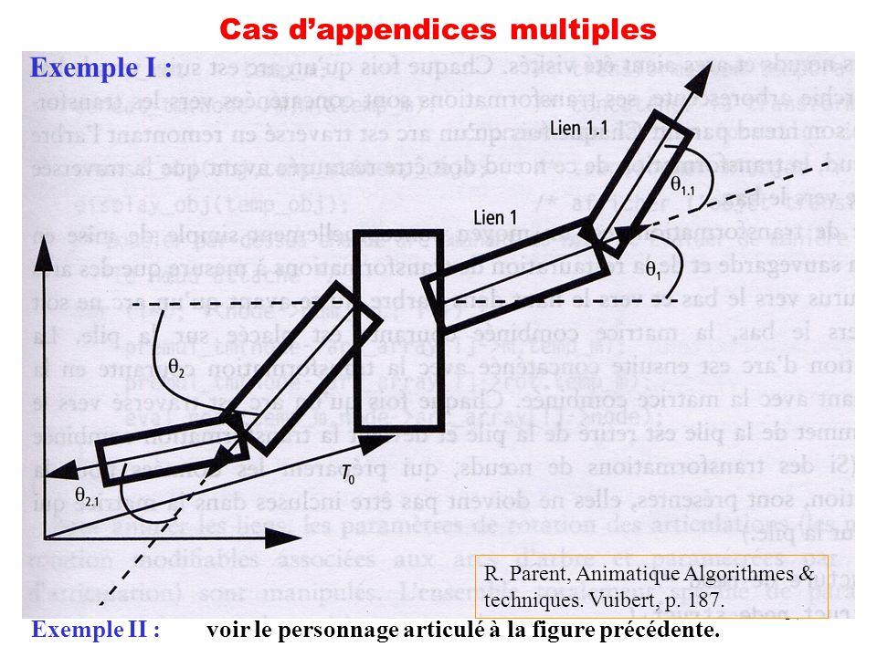 37 Cas dappendices multiples Exemple I : Exemple II :voir le personnage articulé à la figure précédente. R. Parent, Animatique Algorithmes & technique