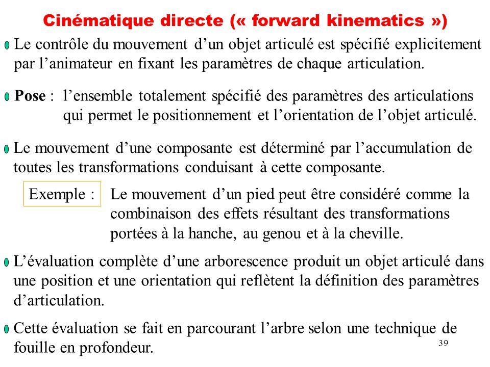39 Cinématique directe (« forward kinematics ») Le contrôle du mouvement dun objet articulé est spécifié explicitement par lanimateur en fixant les pa