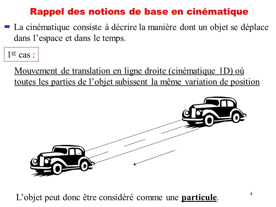 4 Rappel des notions de base en cinématique La cinématique consiste à décrire la manière dont un objet se déplace dans lespace et dans le temps. 1 er