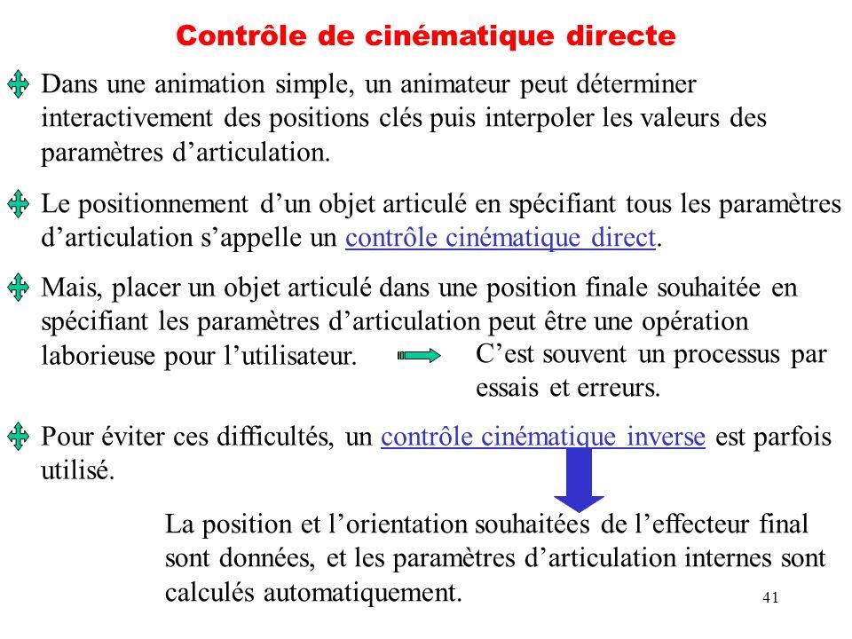 41 Contrôle de cinématique directe Dans une animation simple, un animateur peut déterminer interactivement des positions clés puis interpoler les vale