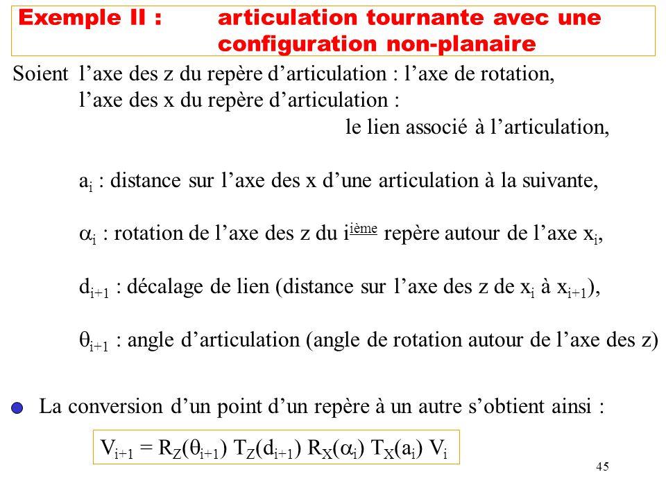 45 Exemple II :articulation tournante avec une configuration non-planaire Soientlaxe des z du repère darticulation : laxe de rotation, laxe des x du r