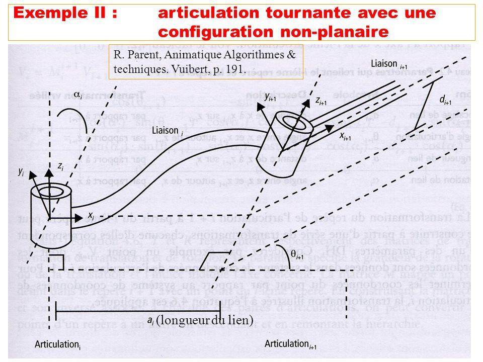 46 Exemple II :articulation tournante avec une configuration non-planaire (longueur du lien) R. Parent, Animatique Algorithmes & techniques. Vuibert,