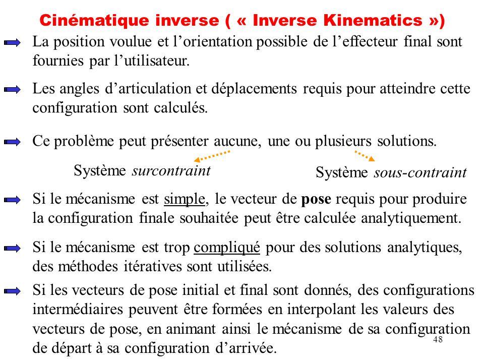 48 Cinématique inverse ( « Inverse Kinematics ») La position voulue et lorientation possible de leffecteur final sont fournies par lutilisateur. Les a