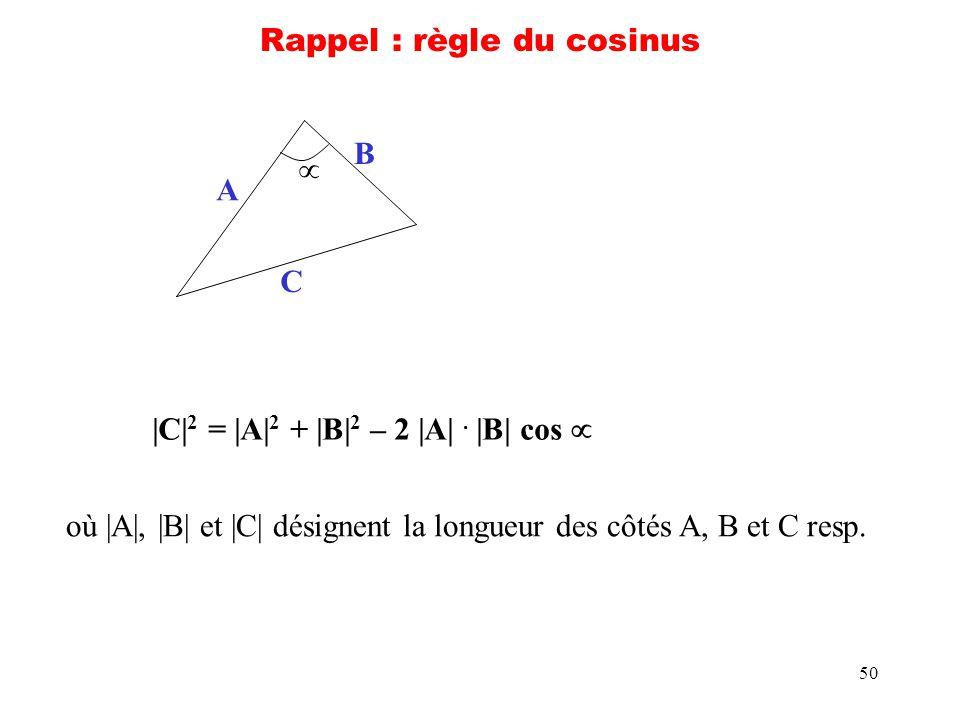 50 Rappel : règle du cosinus A B C |C| 2 = |A| 2 + |B| 2 – 2 |A|. |B| cos où |A|, |B| et |C| désignent la longueur des côtés A, B et C resp.