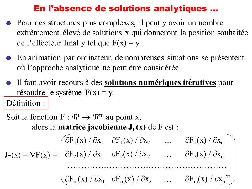 52 En labsence de solutions analytiques … Pour des structures plus complexes, il peut y avoir un nombre extrêmement élevé de solutions x qui donneront