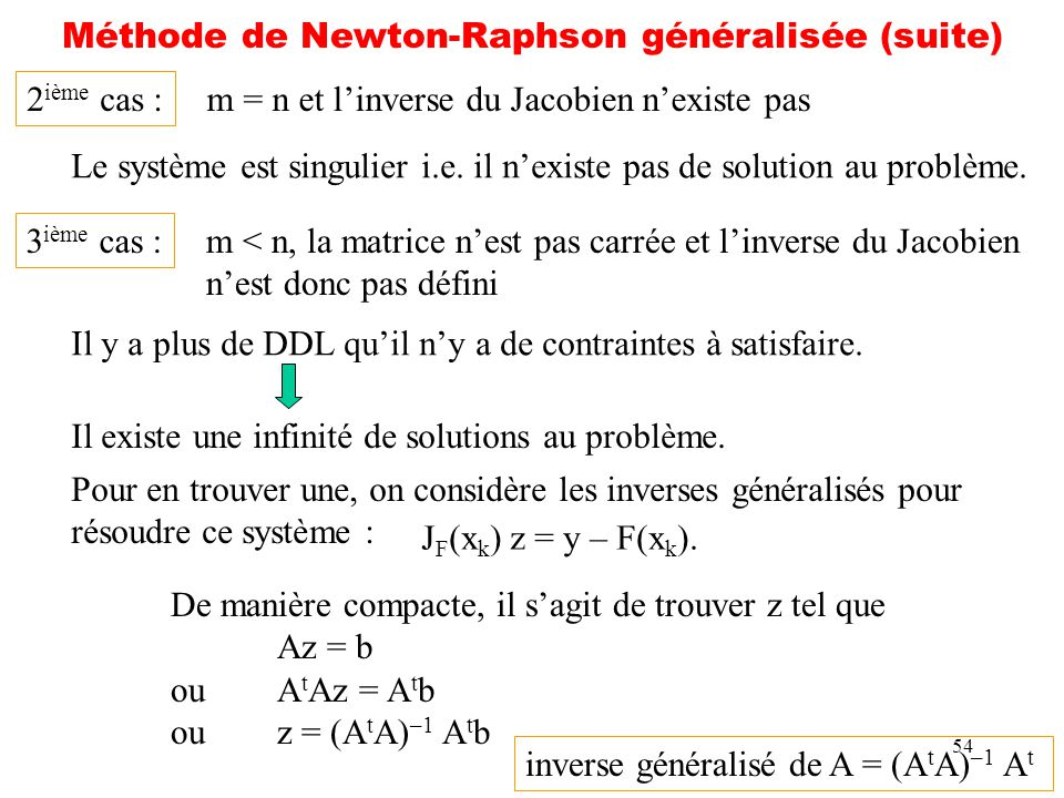 54 Méthode de Newton-Raphson généralisée (suite) 2 ième cas : m = n et linverse du Jacobien nexiste pas Le système est singulier i.e. il nexiste pas d