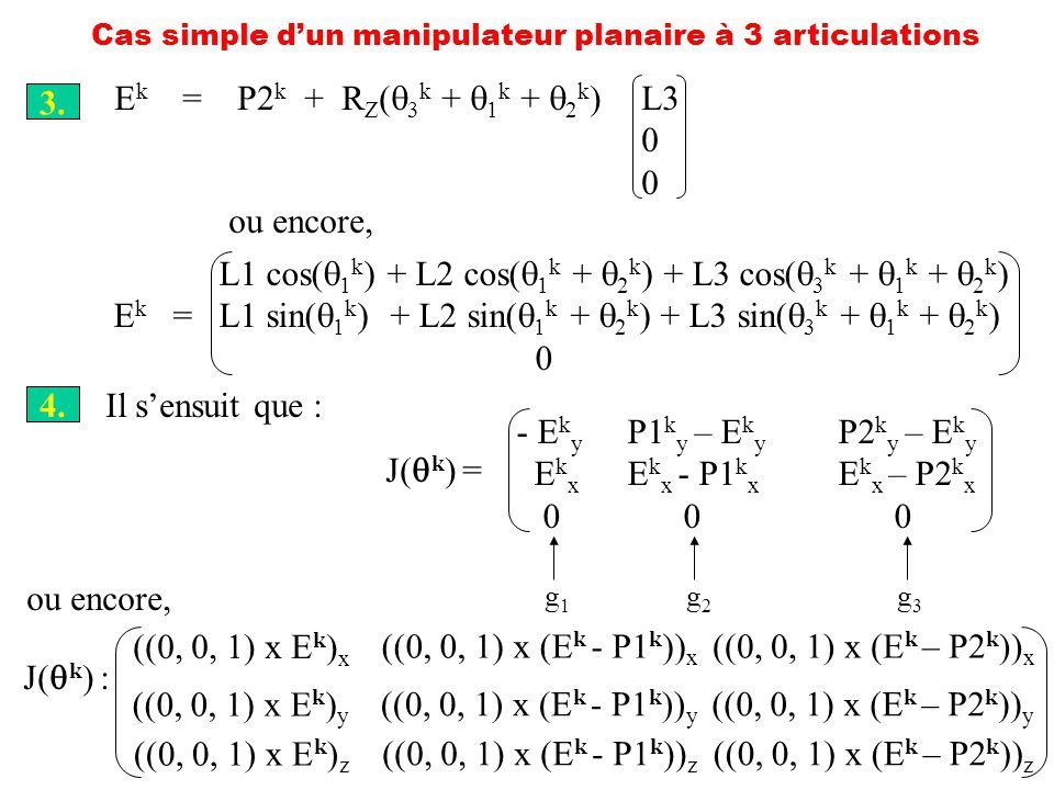 Cas simple dun manipulateur planaire à 3 articulations 3. E k = P2 k + R Z ( 3 k + 1 k + 2 k )L3 0 ou encore, L1 cos( 1 k ) + L2 cos( 1 k + 2 k ) + L3