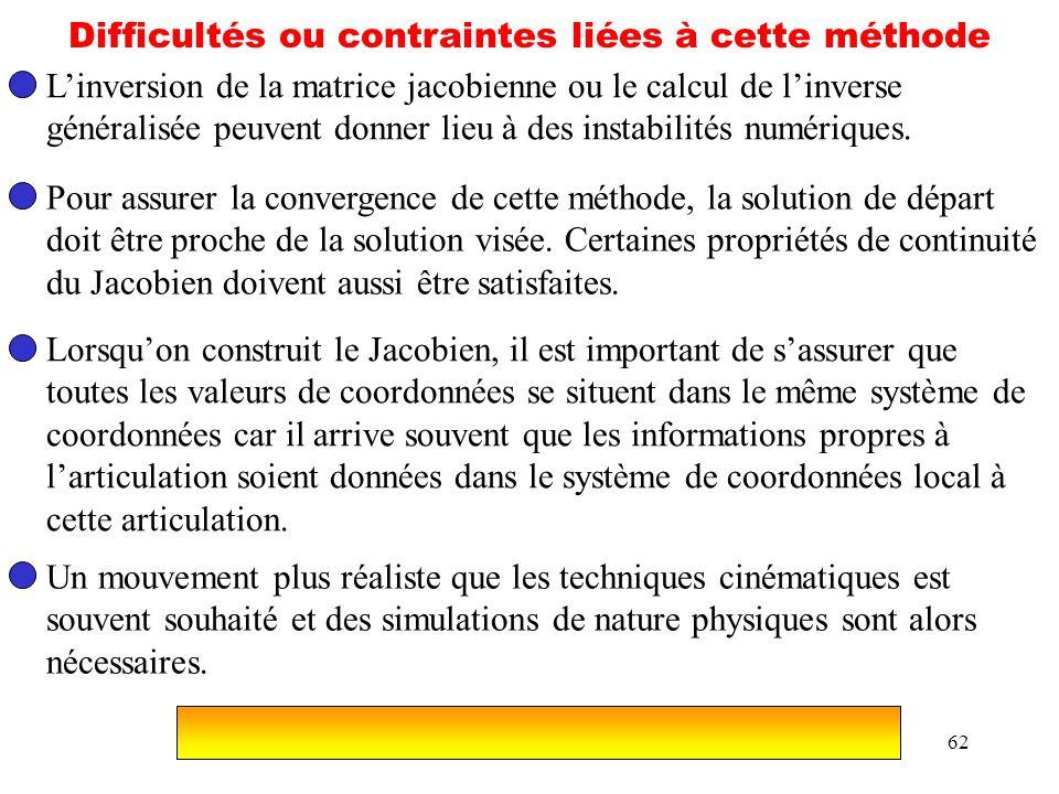 62 Difficultés ou contraintes liées à cette méthode Linversion de la matrice jacobienne ou le calcul de linverse généralisée peuvent donner lieu à des