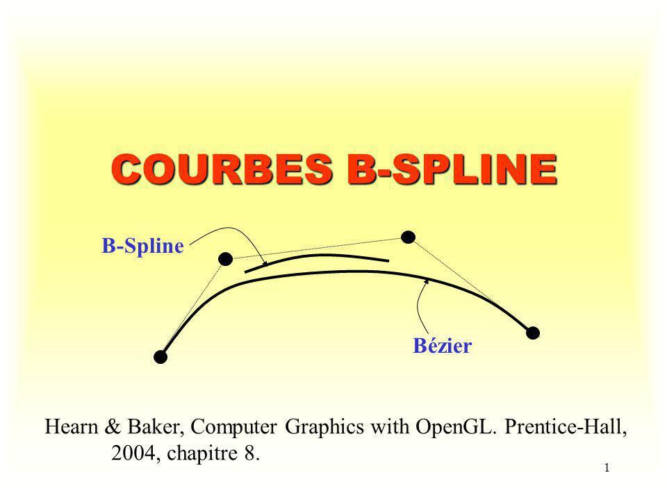 12 Courbe B-Spline quadratique passant par P 0 et P 3 d = 3,n = 3,P 0, P 1, P 2 et P 3 Points de rupture : 0, 0, 0, 0.5, 1, 1, 1 P0P0 P1P1 P2P2 P3P3 Note : Pour obtenir une courbe fermée, il sagit de considérer le cas où P 0 = P n.