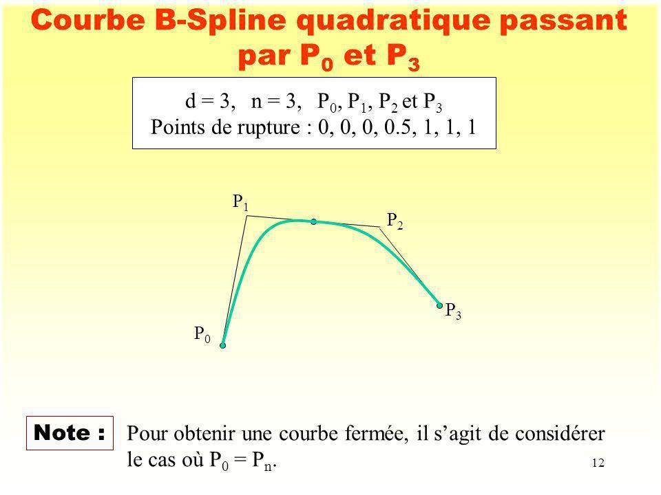 12 Courbe B-Spline quadratique passant par P 0 et P 3 d = 3,n = 3,P 0, P 1, P 2 et P 3 Points de rupture : 0, 0, 0, 0.5, 1, 1, 1 P0P0 P1P1 P2P2 P3P3 N
