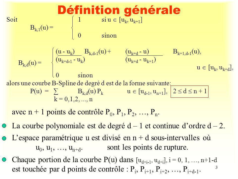 3 Définition générale Soit1si u [u k, u k+1 ] B k,1 (u) = 0sinon (u - u k ) B k,d-1 (u) + (u k+d - u) B k+1,d-1 (u), (u k+d-1 - u k ) (u k+d - u k+1 )