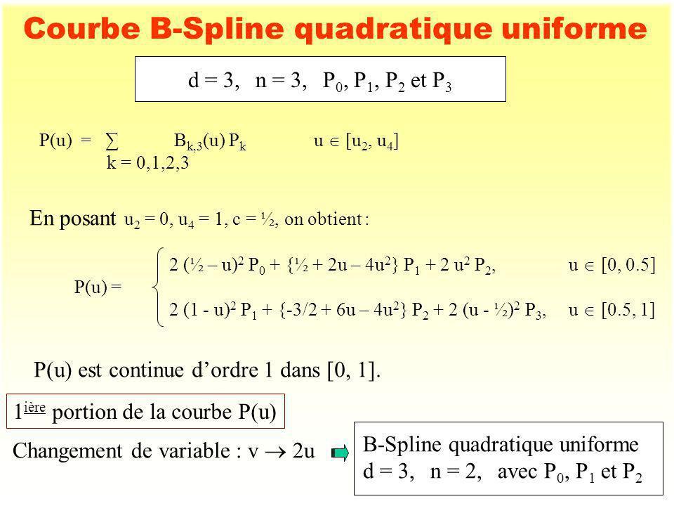 7 Courbe B-Spline quadratique uniforme 2 ième portion de la courbe P(u) Changement de variable : v 2 (u - ½) B-Spline quadratique uniforme d = 3,n = 2,avec P 1, P 2 et P 3 d = 3,n = 3,P 0, P 1, P 2 et P 3 (suite) P0P0 P1P1 P2P2 P3P3