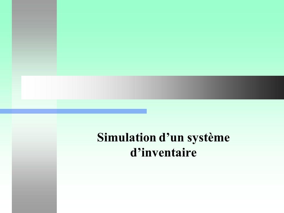 Simulation d un système d inventaire12 Construction du simulateur float Delai_livraison() { // Génère une durée entre une commande et sa livraison.