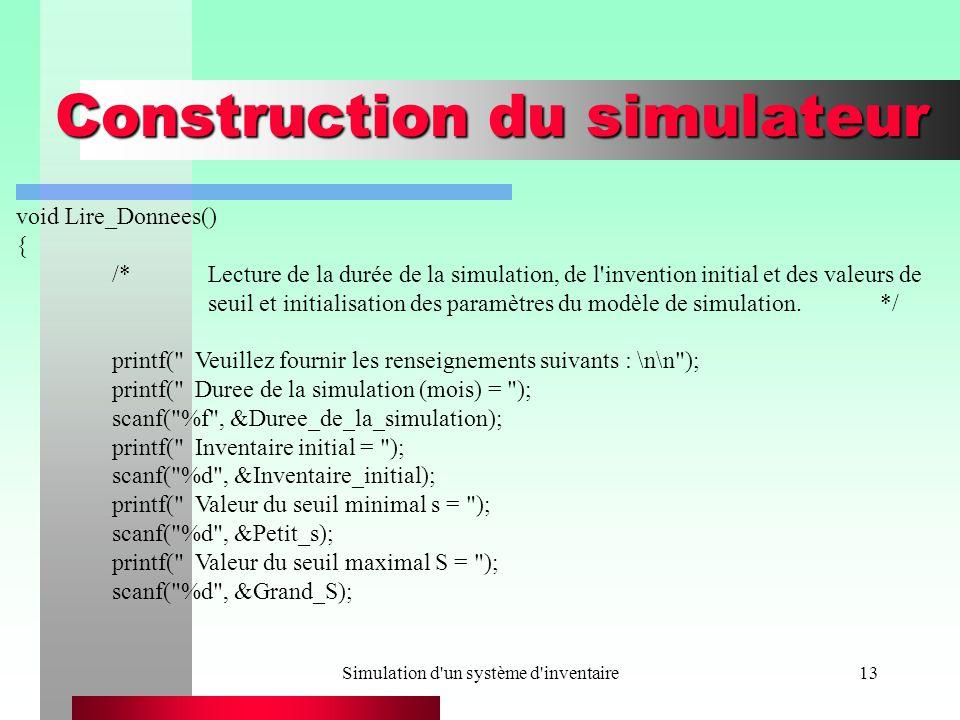 Simulation d'un système d'inventaire13 Construction du simulateur void Lire_Donnees() { /*Lecture de la durée de la simulation, de l'invention initial