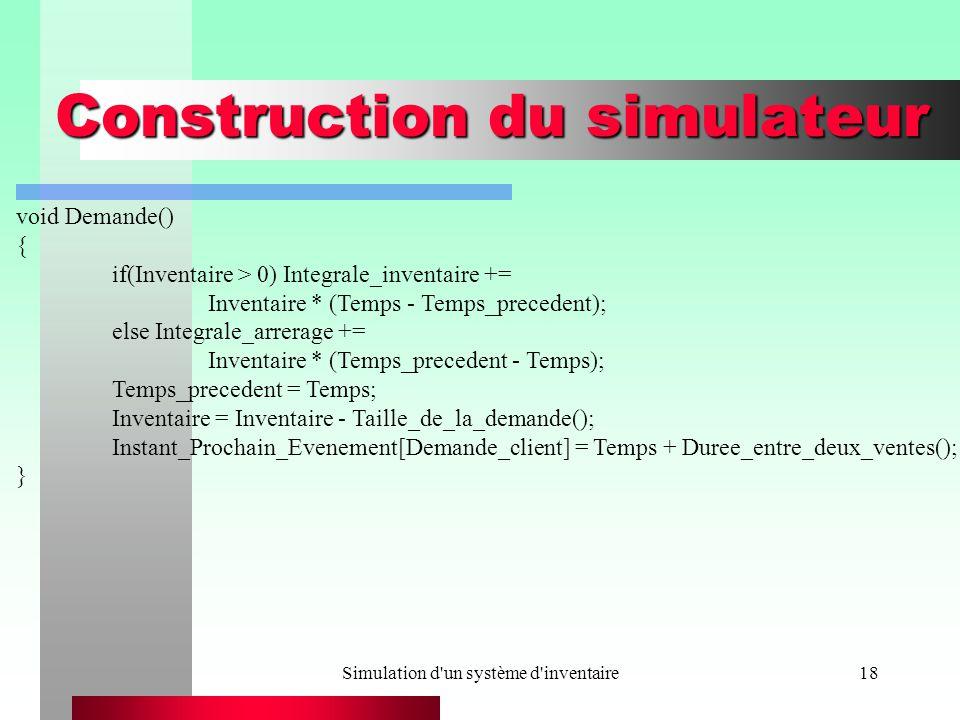 Simulation d un système d inventaire18 Construction du simulateur void Demande() { if(Inventaire > 0) Integrale_inventaire += Inventaire * (Temps - Temps_precedent); else Integrale_arrerage += Inventaire * (Temps_precedent - Temps); Temps_precedent = Temps; Inventaire = Inventaire - Taille_de_la_demande(); Instant_Prochain_Evenement[Demande_client] = Temps + Duree_entre_deux_ventes(); }