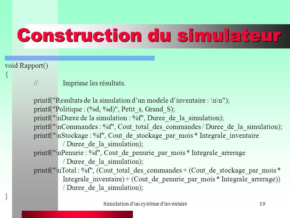 Simulation d'un système d'inventaire19 Construction du simulateur void Rapport() { //Imprime les résultats. printf(