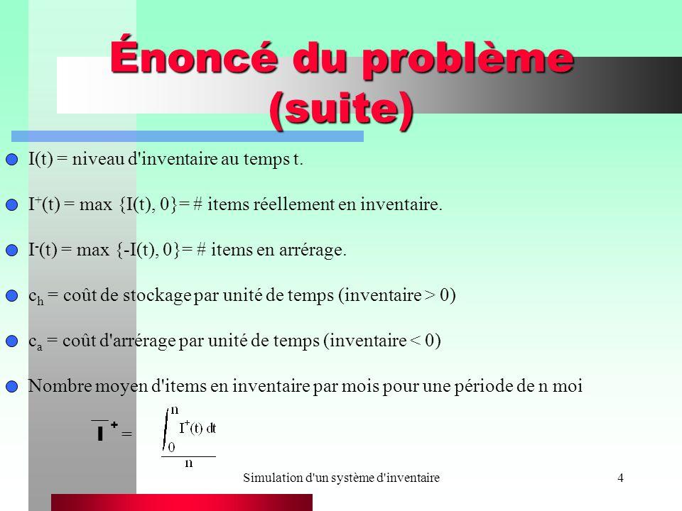 Simulation d'un système d'inventaire4 Énoncé du problème (suite) I(t) = niveau d'inventaire au temps t. I + (t) = max {I(t), 0}= # items réellement en