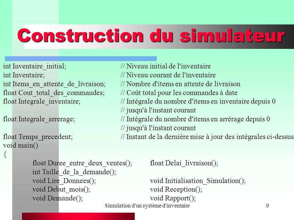 Simulation d un système d inventaire9 Construction du simulateur int Inventaire_initial;// Niveau initial de l inventaire int Inventaire;// Niveau courant de l inventaire int Items_en_attente_de_livraison;// Nombre d items en attente de livraison float Cout_total_des_commandes;// Coût total pour les commandes à date float Integrale_inventaire;// Intégrale du nombre d items en inventaire depuis 0 // jusqu à l instant courant float Integrale_arrerage;// Intégrale du nombre d items en arrérage depuis 0 // jusqu à l instant courant float Temps_precedent;// Instant de la dernière mise à jour des intégrales ci-dessus void main() { float Duree_entre_deux_ventes();float Delai_livraison(); int Taille_de_la_demande(); void Lire_Donnees();void Initialisation_Simulation(); void Debut_mois();void Reception(); void Demande();void Rapport();