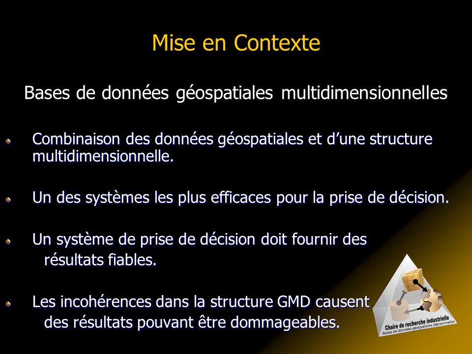 Mise en Contexte Bases de données géospatiales multidimensionnelles Combinaison des données géospatiales et dune structure multidimensionnelle.